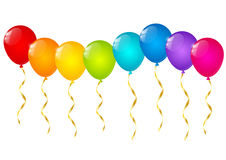 Rainbow balloons isolated on white Royalty Free Stock Photos