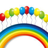 Rainbow and balloons. Vector background. Rainbow and balloons Royalty Free Stock Images