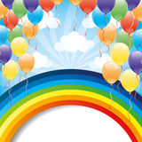 Rainbow and balloons. Royalty Free Stock Images