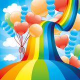 Rainbow and balloons. Royalty Free Stock Photography