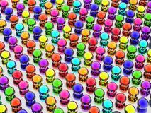 Rainbow balls. 3d rainbow balls background on mirror Stock Photo