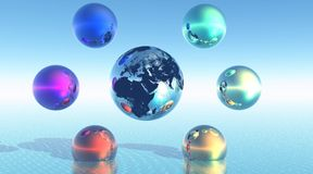 Rainbow balls around earth Stock Photos