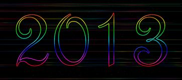 Rainbow banner 2013. Happy new year 2013 card with rainbow colours Stock Image