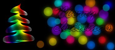 Rainbow banner. Merry christmas card with rainbow colours royalty free illustration