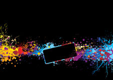 Rainbow banner dream. Black background with rainbow ink splat and room to add copy royalty free illustration