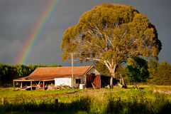 Rainbow and Barn Stock Images