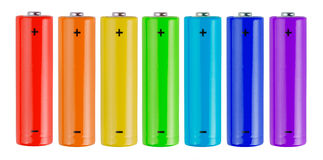 Rainbow batteries Stock Photography