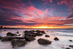 Rainbow bay beach. Australian seascape at twilight (rainbow bay beach, qld, australia Stock Image