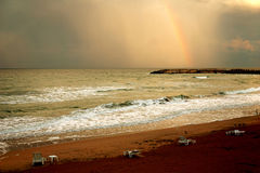 Rainbow on beach Royalty Free Stock Photos