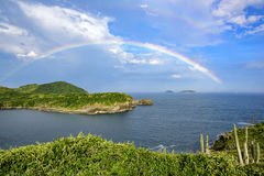 Rainbow. On the beach of Forno seen one of several lookouts on the hills of Buzios Royalty Free Stock Photography