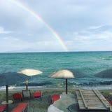 Rainbow Kavala Greece Sea Beach. A rainbow at the beach of Kavala in Greece stock photography