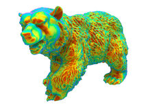 Rainbow bear illustration. 3D render illustration of a bear colored with different rainbow colors. The composition is isolated on a white background with shadows Stock Photos
