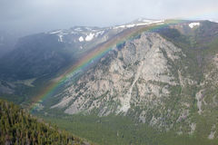 Rainbow at Beartooth Pass. A rainbow over the mountains at Beartooth Pass in Montana royalty free stock images