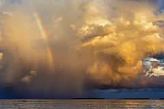 Rainbow beautiful seaside at the time of sunset Royalty Free Stock Images