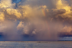 Rainbow beautiful seaside at the time of sunset Royalty Free Stock Photography