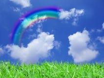 Rainbow. A beautiful rainbow in the sky stock photo