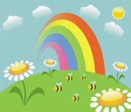 Rainbow  and bees Royalty Free Stock Image