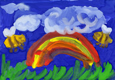 Rainbow and bees. childrens drawing Stock Photography