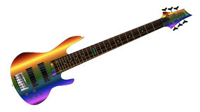 Rainbow Big Neck Bass Guitar Royalty Free Stock Photos