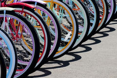 Rainbow of bike wheels Royalty Free Stock Photography