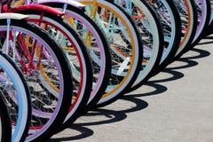 Rainbow of bike wheels Royalty Free Stock Photography