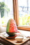 Rainbow bingsoo with milk. In the vintage cafe, Bangkok Stock Photos