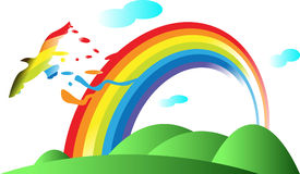 Rainbow and bird Stock Image