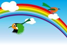 Rainbow and bird Stock Photos