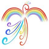 Rainbow bird, beautiful fairy animal, imagination and nature vector illustration