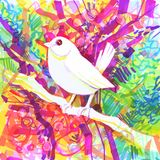 Rainbow bird with a colourful background. White rainbow bird sits on a branch stock illustration