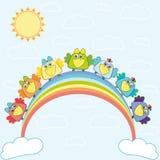 Rainbow with birds. Vector; Birds sitting on a rainbow Stock Photos