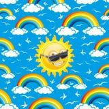 Rainbow, birds and sun Stock Photo