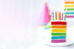 Rainbow birthday cake Royalty Free Stock Photography