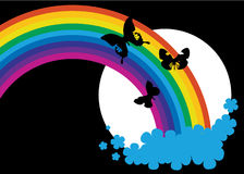 Rainbow and black butterflies Stock Photo