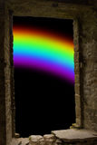 Rainbow ancient stone wimdow Royalty Free Stock Image
