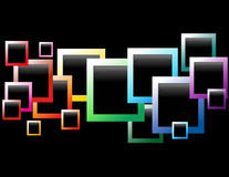 Rainbow Black Floating Boxes. A rainbow of beveled colored picture boxes are going across a black background. The picture boxes range in size and color Royalty Free Stock Photography