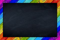Rainbow blackboard wooden frame Royalty Free Stock Image