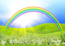 Rainbow in the blue sky Royalty Free Stock Image