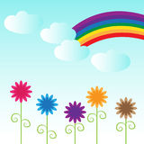 Rainbow blue sky clouds flowers meadow scene. Rainbow and clouds with blue sky. Colorful flowers, beautiful day. Ideal for children`s book, story, storytelling Stock Photography