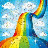 Rainbow in the blue sky. Rainbow in the blue sky and confetti Stock Photos