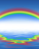 Rainbow and blue water... With waves Royalty Free Stock Image