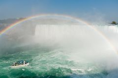 Rainbow on Boat in Niagara Falls - Ontario, Canada Stock Images