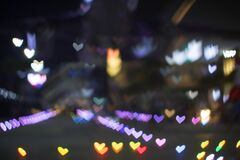 Free Rainbow Bokeh And Blur Heart Shape Love Valentine Colorful Night Light Royalty Free Stock Images - 214961509