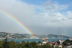 Rainbow in the Bosphorus Royalty Free Stock Images