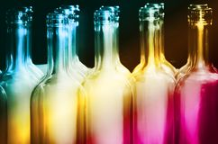 Rainbow Bottle Row Stock Images