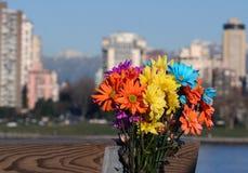 Rainbow Bouquet. Memorial bouquet against city skyline stock photography