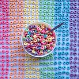 Rainbow breakfast. A bowl of cereal with a colorful cereal Stock Photography