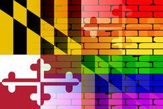 Rainbow Brick Wall Maryland Flag. A well worn wall painted with a LGBT rainbow with the Maryland state flag Stock Photos
