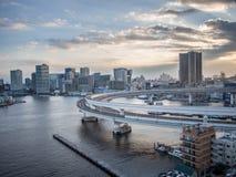 View From Rainbow Bridge, Tokyo, Japan, South Route. The Rainbow Bridge レインボーブリッジ Reinbō Burijji is a royalty free stock photography