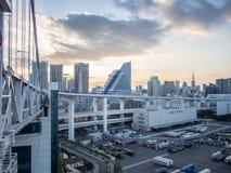 View From Rainbow Bridge, Tokyo, Japan, North Route. The Rainbow Bridge レインボーブリッジ Reinbō Burijji is a stock photo